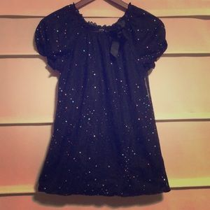 Girls Sparkly Black Blouse